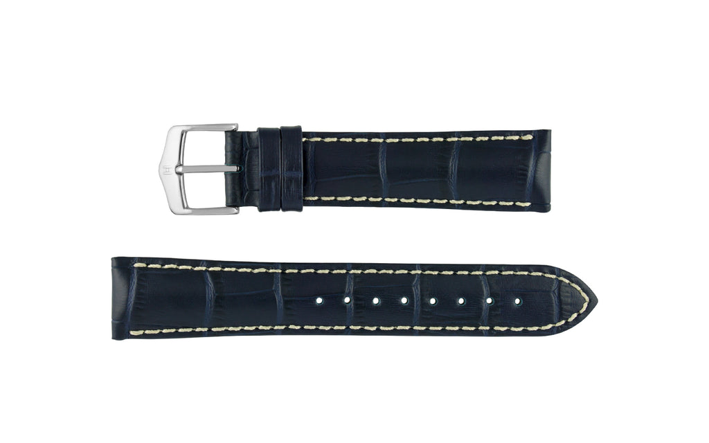 Modena by HIRSCH - Men's Navy Blue Alligator Grain Leather Watch Strap