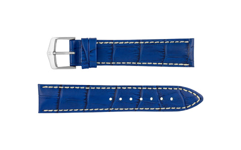 Modena by HIRSCH - Men's Royal Blue Alligator Grain Leather Watch Strap