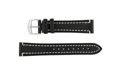 Liberty by HIRSCH - Men's LONG Black Saddle Leather Watch Strap