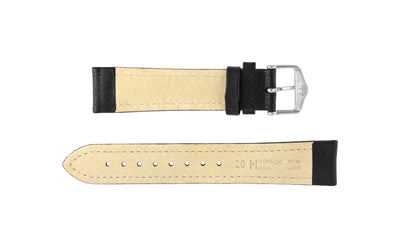 Buffalo by HIRSCH - Men's Black Textured Leather Watch Strap