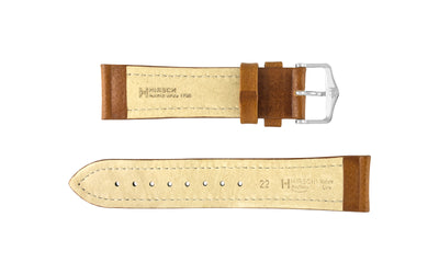 Buffalo by HIRSCH - Men's Golden Brown Textured Leather Watch Strap