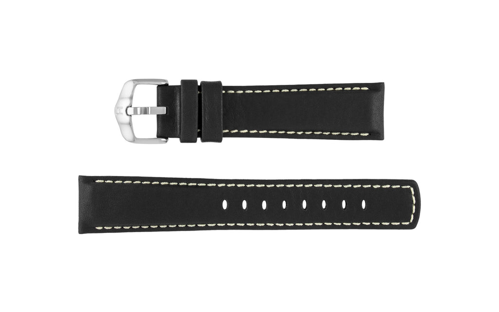 Mariner by HIRSCH - Men's Black Soft-Touch Waterproof Leather Watch Strap