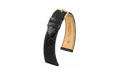 Genuine Croco by HIRSCH - Men's Black Genuine Crocodile Watch Strap