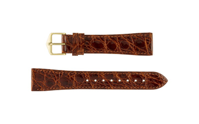 Genuine Croco by HIRSCH - Men's Golden Brown Genuine Crocodile Watch Strap