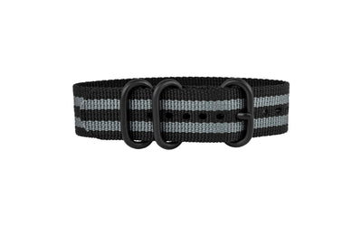 AWB Black/Gray Stripe PVD Buckle Ballistic Nylon NATO Watch Strap AWB073-80BT