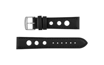AWB Men's Black Rally Style Genuine Leather Watch Strap AWB073-69