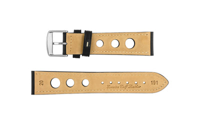 AWB Men's Black/White Rally Style Genuine Leather Watch Strap AWB073-70