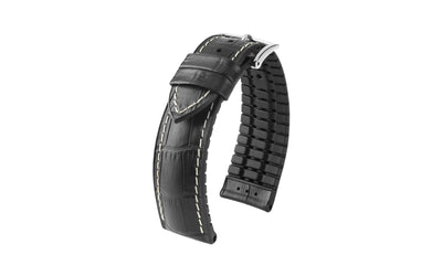 George by HIRSCH - Men's Black Alligator Grain Leather Performance Watch Strap