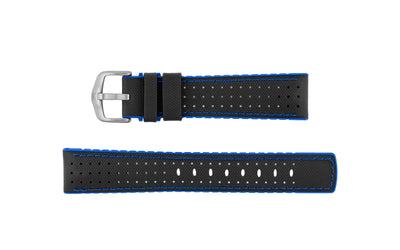 Robby by HIRSCH - Men's Black/Blue Sailcloth Style Leather Performance Watch Strap