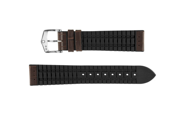 George by HIRSCH - Brown Alligator Grain Leather Performance Watch Strap