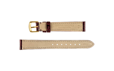 Hadley-Roma Women's Burgundy Genuine Caiman Crocodile Watch Strap LS2001