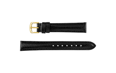 Hadley-Roma Women's Black Shiny Genuine Java Lizard Watch Strap LS2002
