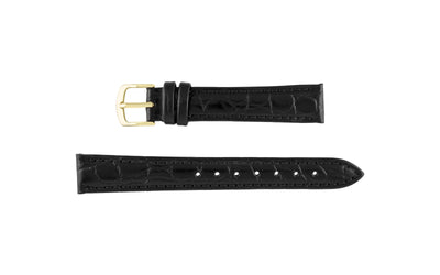 Hadley-Roma Women's Black Crocodile Grain Leather Watch Strap LS717
