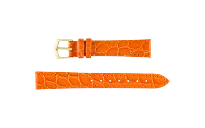 Hadley-Roma Women's Orange Crocodile Grain Leather Watch Strap LS717