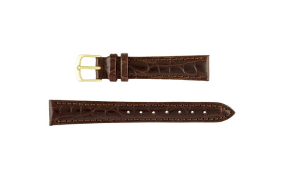 Hadley-Roma Women's LONG Brown Crocodile Grain Leather Watch Strap LS717