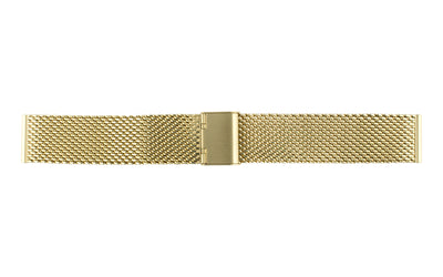 Hadley-Roma Men's Yellow Tone Straight End Metal Mesh Bracelet Watch Band MB3845Y