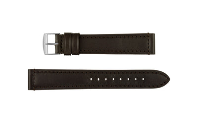 Fleurus France - Men's EXTRA-LONG Espresso Genuine Padded Leather Watch Strap MS021-359