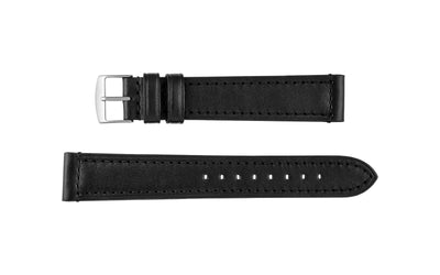Fleurus France - Men's EXTRA-LONG Black Genuine Padded Leather Watch Strap MS021-359