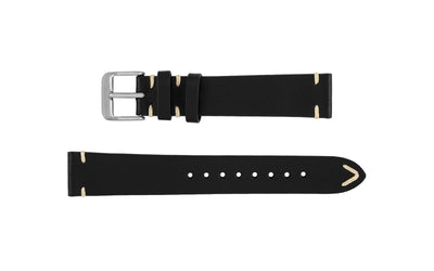 Fleurus France - Men's Black Ecru Stitch Vintage Leather Watch Strap