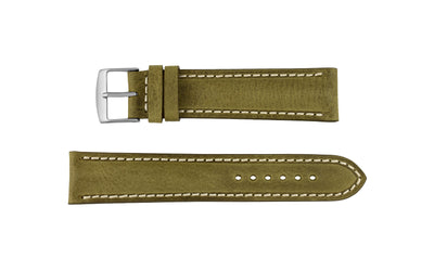 Fleurus France - Men's Olive Ecru Stitch Soft Vintage Leather Watch Strap