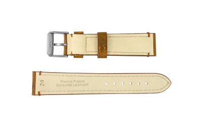 Fleurus France - Men's Chestnut Genuine Camel Leather Watch Strap MS025-35