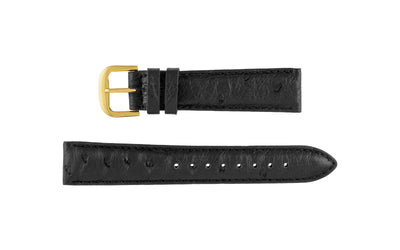 AWB Italian Made - Men's Black Genuine Ostrich Watch Strap MS185
