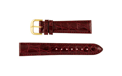 AWB Italian Made - Men's Burgundy Genuine Crocodile Padded Watch Band MS191