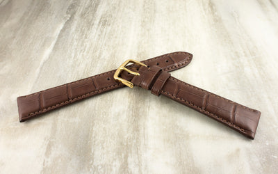 Hadley-Roma Men's Matte Chestnut Genuine Alligator Watch Strap MS2005