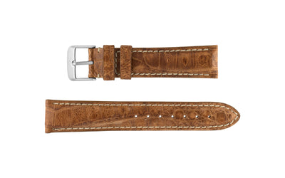 Hadley-Roma Men's Tan Genuine Caiman Crocodile Watch band MS2012