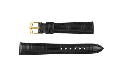 Hadley-Roma Men's Matte Black Genuine Alligator Watch Strap MS2017