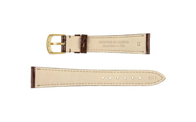 Hadley-Roma Men's Matte Brown Genuine Alligator Watch Strap MS2017