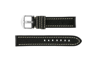 Hadley-Roma Men's Black Vegetable Tanned Leather Watch band MS2040