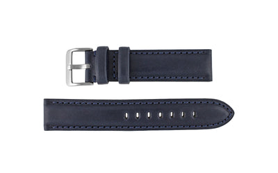 Hadley-Roma Men's Navy High Polished Glazed Leather Watch band MS2046