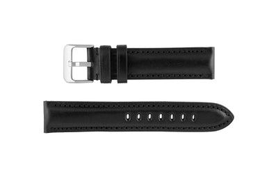 Hadley-Roma Men's Black High-Polished Glazed Leather Watch Strap MS2046