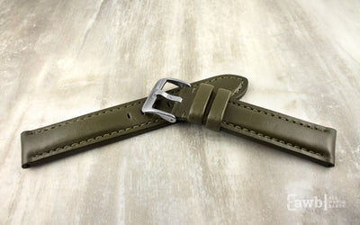 Hadley-Roma Men's Olive High Polished Glazed Leather Watch Strap MS2046