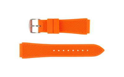 Hadley-Roma Men's Orange Stitched Silicone Watch Band MS3346