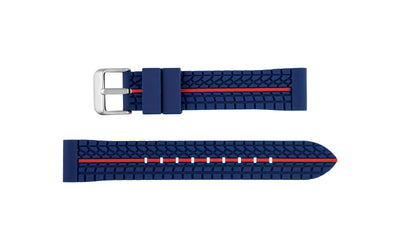 Hadley-Roma Men's Blue/Red Genuine Silicone Watch Band MS3356