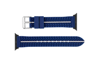 Apple Watch 38mm & 40mm - Blue & White Tire Tread Silicone Watch Strap