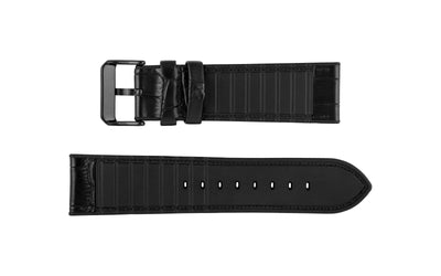 Hadley-Roma Men's Hybrid Fit - Black Leather & Silicone Performance Watch Band MS3390
