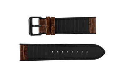 Hadley-Roma Men's Hybrid Fit - Brown Leather & Silicone Performance Watch Band MS3390
