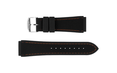 Hadley-Roma Men's Black/Orange Genuine Silicone Watch band MS3345