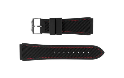 Hadley-Roma Men's Black/Red Genuine Silicone Watch Band MS3345
