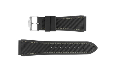 Hadley-Roma Men's Black/White Genuine Silicone Watch Band MS3345