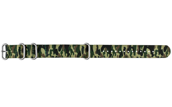 Men S Green Camouflage One Piece Nylon Nato Watch Strap