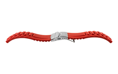 AWB Men's Red Silicone Deployant Clasp Oyster Style Link Diver Watch Band