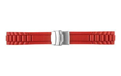 AWB Men's Red Men's Silicone Link Look Watch Band with Deployment Clasp
