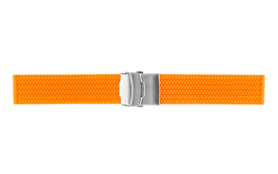 AWB Men's Orange Silicone Tiretread Watch Band with Deployment Clasp AWB595-012