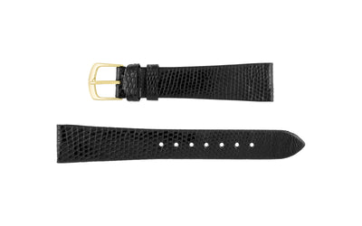 Hadley-Roma Men's SHORT Black Genuine Java Lizard Watch Strap MS700