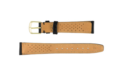Hadley-Roma Men's LONG Black Hypo-Allergenic Genuine Leather Watch Strap MS709