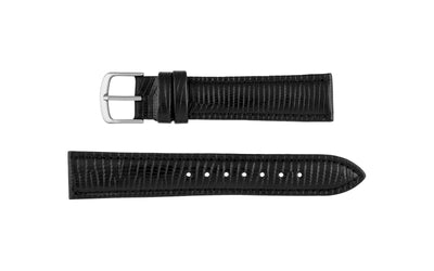 Hadley-Roma Men's LONG Black Lizard Grain Italian Leather Watch Strap MS716